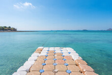 Beautiful Tropical Beach Sea And Sand With Floating Walkway Pontoon In Andaman Sea Thailand