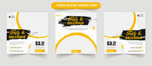 Cullinary Tasty Delicious Food Menu Restaurant Promotion For Set Of Editable Social Media Post Banner Flyer Square Vector Template