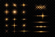 Light Effect. Golden Bright Star, Yellow Sun. Starlight, Glittering Particles.