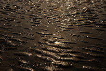 Mudflat, With Tidal Ripples Pattern, At Sunset With Sunlight Reflected In Water