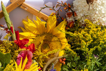 Traditional Bouquet Of Flowers, Herbs And Fruits That Are The Symbol Of Summer