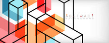 Abstract Background. 3d Cubes, Cubic Elements And Blocks. Techno Or Business Concept For Wallpaper, Banner, Background, Landing Page