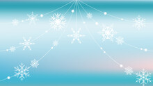 Abstract Winter Blue And Turquoise Horizontal Background For Design. Snowflake Threads And Snow Curtains On Smooth Satin Vector Gradient. With Pink Highlights
