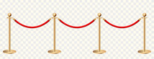 Golden Barriers Front View On Transparent Background Vector Illustration