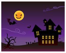 ハロウィンの夜景のベクターイラスト背景素材