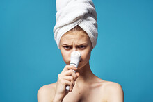 Woman With Bare Shoulders Towel On Head Clean Skin Cosmetology