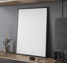 Mockup Frame Close Up In Loft Interior Background, 3d Render