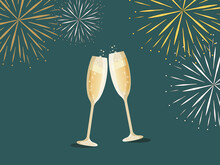 Happy New Year Greeting Card Two Champagne Glasses And Fireworks On A Dark Background. Holidays Content