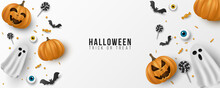 Happy Halloween Background Design. 3d Emotional, Cartoon, Smiling Pumpkins With Eyes, Sweets, Lollipops, Flying Bats, Ghost On White Background. Party Invitation Template