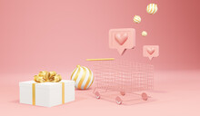 A Shopping Cart And Gift Boxes On A Pink Background. 3d Rendering