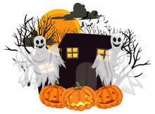 Halloween Ghosts With Jack-o'-lantern