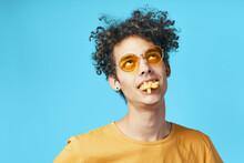 Kinky Guy In Yellow T-shirt French Fries Fast Food Fun