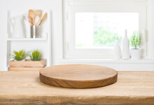 Food Background Concept With Empty Vintage Cutting Board On Table