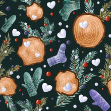 Seamless Winter Pattern With Fir-tree Branches, Snowballs, Christmas Toys, Woodcut Rings, Knitted Socks, And Mittens On Dark Background. Endless Botanical Background For Wrapping Paper, Scrapbooking