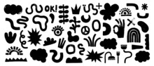 Big Set Of Black Hand Painted Various Shapes, Curls, Forms
