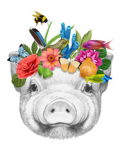 Portrait Of Piglet With A Floral Crown.  Flora And Fauna. Hand-drawn Illustration, Digitally Colored.