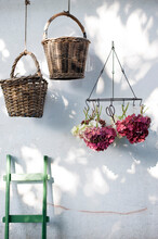 Wicker Baskets And Dried Hydrangeas Hanging In Front Of White Wall