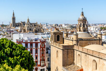 View Of Annunciation Church And Cathedral Of Seville In The Capital City Of Andalusia, Seville, Spain