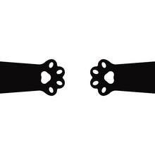 Monochrome Cat Paws Banner. Cute Simple Animal Portrait, Hand Drawn Doodle Black Cat Paws. Vector Illustration