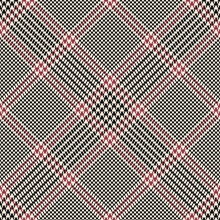 Tartan Plaid Pattern In Black, Red Pink, Off White For Spring Autumn Winter. Seamless Tweed Houndstooth Check Background Vector Graphic For Skirt, Blanket, Other Modern Fashion Fabric Print.