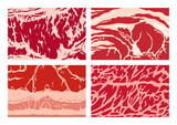 Vector meat background or pattern collection. Beef, pork, and lamb meat textures