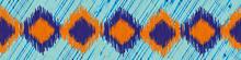 Shibori Style Ikat Vector Seamless Vector Border Background. Banner Of Scribbled Indigo Orange Diamond Shapes On Blue Weave Effect Backdrop. Graphic Style Woven Geometric Design For Ribbon, Edging