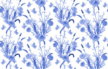 Monochrome Blue Texture With Floral Bouquets Of Lavenders, Mimosas And Roses, Flying Butterflies On White Background. Watercolor Painting