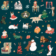 Christmas Celebration With Dog Pets Seamless Vector Pattern