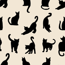 Black Cat  Silhouettes Seamless Pattern. Animal  In Different Poses. Vector Illustration Isolated On White Background.