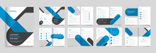 Business  Brochure Template Design, 16 Pages With Modern Shapes Premium Vector