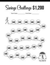 Save 1200 Dollar, Savings Challenge, Save Money, Savings Tracker, Money Challenge, Save Money