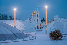 Assumption Cathedral Of The Dmitrov Kremlin In The Evening In The Light Of Beautiful Lighting. Winter Landscape.