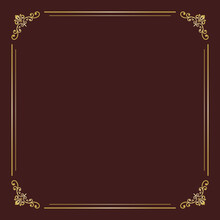 Classic Vector Brown And Golden Square Frame With Arabesques And Orient Elements. Abstract Ornament With Place For Text. Vintage Pattern