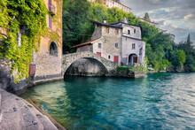 Old Little Village With A Beautiful Stone Bridge Along Lake Como
