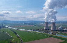 View Of Drone Of Nuclear Power Plant And River