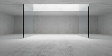 Empty Modern Abstract Concrete Room With Open Ceiling Light And Glass Wall Frame, Product Presentation Template Background