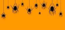 Hanging Spiders Halloween Orange Background.