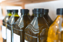 Oil Bottles On Display At Store