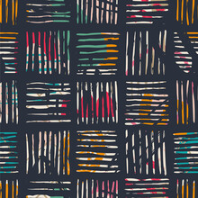 Hand Drawn Various Shapes, Spots, Dots And Lines. Abstract Contemporary Seamless Pattern