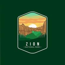 Zion National Park Emblem Patch Logo Illustration