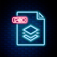 Glowing Neon Line PSD File Document. Download Psd Button Icon Isolated On Brick Wall Background. PSD File Symbol. Colorful Outline Concept. Vector