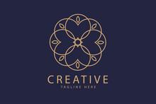 Logo Design Template, Unique Floral Motif Ornament