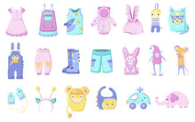 Set Newborn Clothes. A Set Of Clothes And Toys For Newborns Rompers, Jumpsuit, Bodysuits, T-shirts And Pants In Scandinavian . Colored Flat Vector Illustration Isolated On White Background