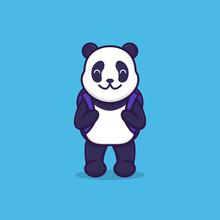 Vector Illustration Of Cute Panda Going To School. Flat Design Illustration