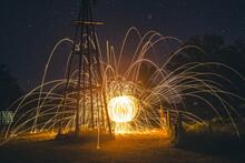 Incandescent Steel Lights Set On Fire. Fire Sphere.