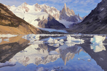 Amazing Sunrise View Of Cerro Torre Mountain By The Lake. Los Glaciares National Park.