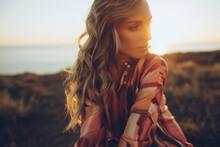 Beautiful Woman. Young Woman, Sunlight, Sunset. High Quality Photo