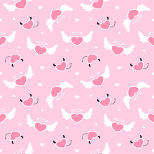 Hearts Angel Cute And Devil's Heart Pastel Seamless Pattern For Background, Valentine, Illustration, Wallpaper, Wrapping Paper, Fabric