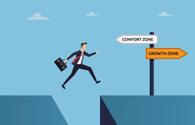 Businessman Jumping To Growth Zone Concept, Take Action For Success Illustration