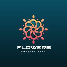 Vector Logo Illustration Flower Gradient Line Art Style.